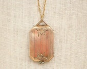 Antique jewelry,  antique locket, Gold rectangular locket, Two Girls Gems