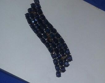 Vintage Art Deco Era 1940's FAB Pin Brooch Large Sapphire blue COLOR  estate