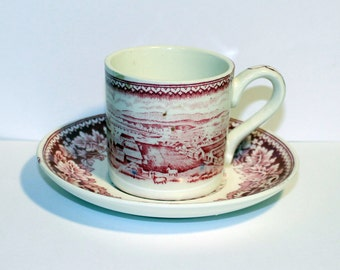 Currier and Ives By Homer Laughlin Cup and Saucer, Vintage Tea Cup, Vintage Coffee Cup, 40s Red Cup and Saucer