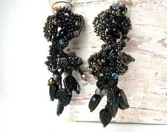 Black earrings, Black jewelry, Beaded earrings, Beadwork earrings, Handmade earrings, Beaded jewelry, Gift for women