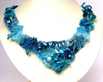 Blue jewelry Blue necklace, Gift for women, Statement jewelry Handmade necklace Seed bead necklace, Freeform necklace, Beaded jewelry