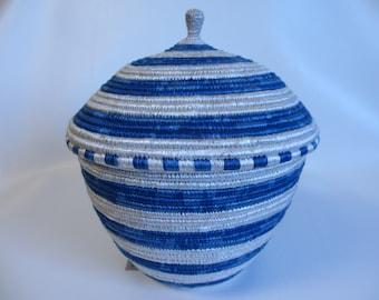 African Basket, Woven Basket, Basket with Lid, Blue and White Basket, Fair Trade, Large Basket, Beautiful Basket, Handmade Basket, Ugandan
