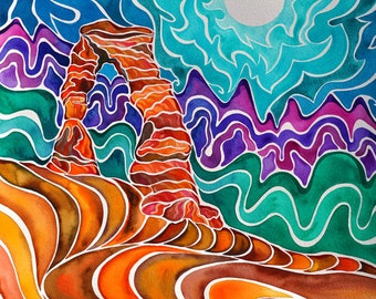 Arches National Park Original Painting (Psychedelic Spiritual Delicate Arch Stylized Southwestern Sacred Ombre Watercolor in Sepia and Aqua)