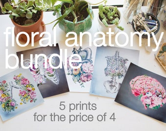 Floral Anatomy Bundle - Anatomical Art Prints - Human Body - Medical Art