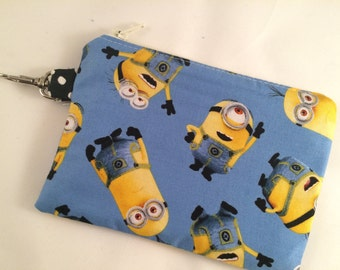 Minions Small Zippered Pouch, Stocking Stuffer, Coin Purse, Notions Case, Handmade