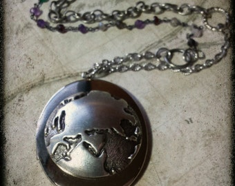 Womens Locket Necklace Large Silver Maps Globe with Mixed Long Chain
