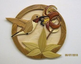 HUMMINGBIRD, wood carved wall decor, intarsia art by RAKOWOODS,  anniversary, birthday gift, log cabin decor,wood wall art