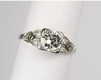ON SALE Art Deco Platinum and Diamond Ring .79 carats