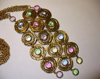 Bold Crystal Necklace - Big Flashy Vintage Jewelry Piece