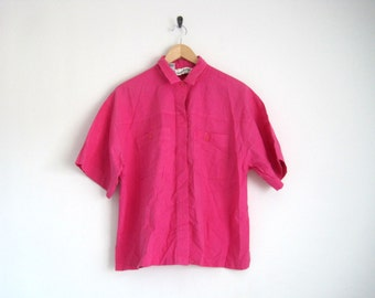 Vintage Diane Von Furstenberg Shirt. Fluorescent Hot Pink Blouse. Vintage DVF Blouse. Button Down Collared Shirt. Oversized Shirt.