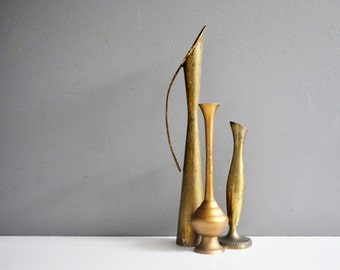 Trio of Vintage Brass Bud Vases