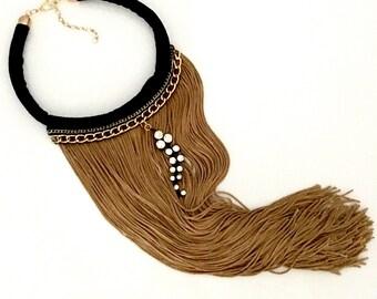 Black and Gold Long Fringe Necklace, Tassel Necklace, Holiday Necklace, Fabric Necklace, Bib Necklace, Rhinestones, Gift for mom