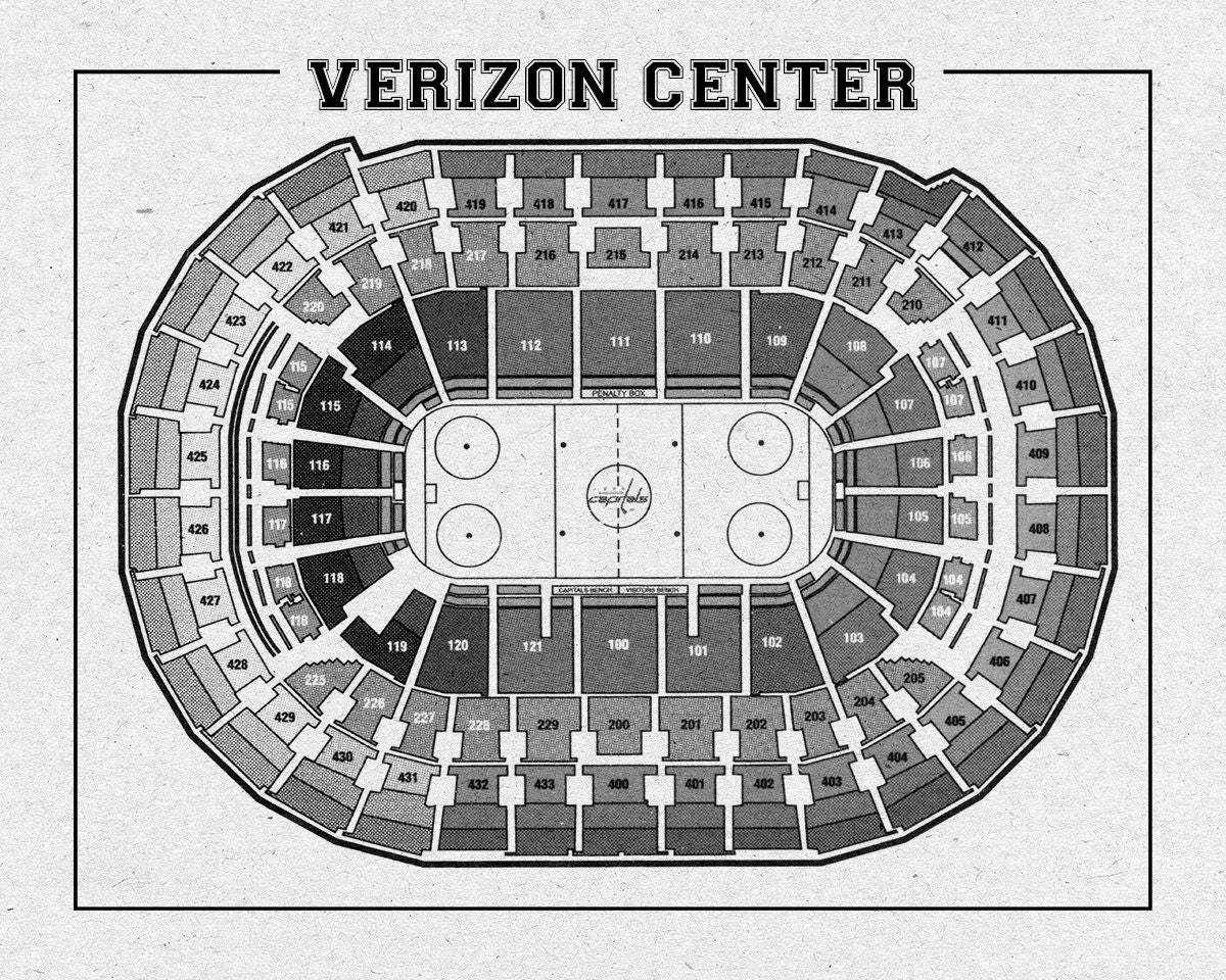 Print of vintage verizon center seating chart on photo for 12x15 calculator