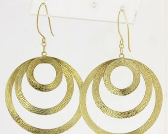 40% OFF Textured Three Circle Dangle Earrings - 14k Yellow Gold Plated Women's Jewelry X7027