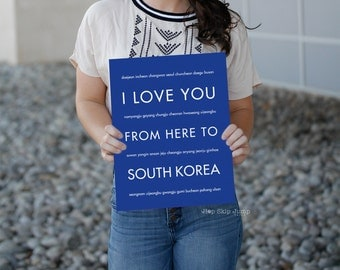 South Korea Art, Seoul Print, Travel Poster, Korea Decor, Korean Art, I Love You From Here To SOUTH KOREA, Shown in Royal Blue
