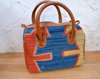 Southwestern Rug Bag, Santa Fe Style, Handbag, Bohemian Purse, Satchel, Leather Tassel