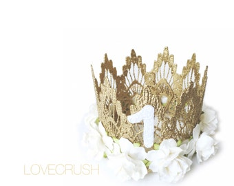 Ready to Ship || First Birthday|| Sienna crown gold || white-ivory flowers MINI lace crown headband || customize ANY AGE||keepsake box inclu