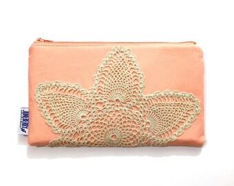 Zipper Pouch with Vintage Lace - Makeup Bag