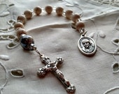 Chaplet in Cream, Chaplet for Baptism, Chaplet for Confirmation, Cream color stone