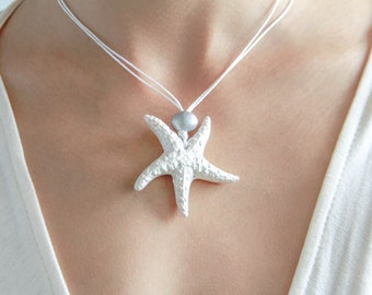 White Pearl Starfish Necklace / Bridesmaid Gift / Clay Jewelry