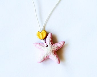 Pale Pink Small Starfish Clay Necklace