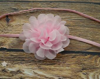 Pink headband, light pink, baby elastic headband, baby headband, infant headband, newborn headband, elastic headband, baby girl, hair clip
