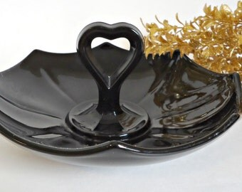 Depression Glass Black Amethyst Candy Dish Tidbit 1930's
