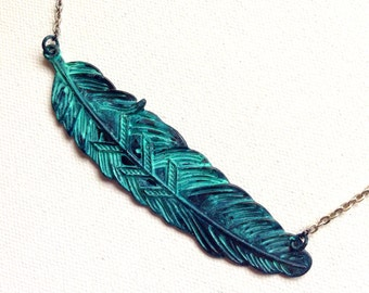 Blue Patina Feather Necklace on Silver Chain
