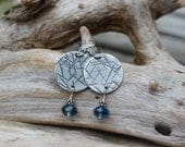 Silver Earrings: Hammered, Textured, Oxidized Fine Silver (.999) Disc Earrings with Montana Blue Swarovski Crystal Dangles -- Shabby Chic
