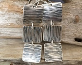 RESERVED FOR REBECCA: Long Silver Earrings. Sexy, Artsy Earrings. Hand Cut, Hammer Textured, Curved, Oxidized Fine Silver Triple Squares