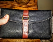1980s vintage leather wallet.vintage black and brown two tone. credit card slots-check book divider