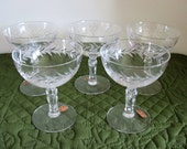 5 Vintage Fostoria Crystal Glass Champagne Sherbets Holly Clear Pattern Stem # 6030 Cut # 815 Circa 1960's