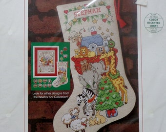 Ann Craig Cross Stitch Kit NOAH'S ARK Christmas Stocking By Sunset
