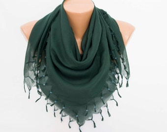 Scarf,square made to triangel scarf with beads and tassels,green