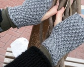 Hand Knit Fingerless Gloves mittens christmas gift for her valentines day gift