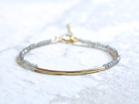 Labradorite & tube bar beaded bracelet / 14k gold filled