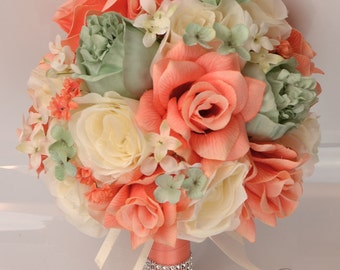 """Wedding Bridal Bouquets 17 Piece Package Silk Flowers Bouquet Party Bride Artificial Decoration MINT CORAL IVORY """"Lily of Angeles"""" MICO01"""