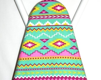 Ironing Board Cover - Navajo fabric in pink, turquoise, yellow and purple - Laundry and Housewares