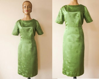 FLAH SALE vintage 1950s 1960s fern green satin WIGGLE dress mad men style sheath dress party dress size M to L 50s 60s