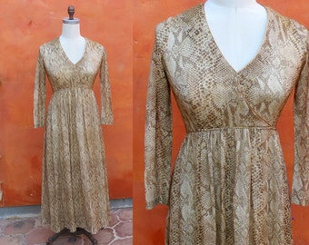 Vintage 1960s 1970s Metallic Brown Gold Snakeskin Lame print MAxi Dress. Animal print festival dress boho hippie gypsy coachella bohemian