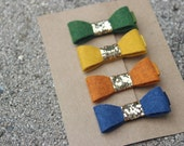 Set of 4 {AVERY} Bow Clips - Fall Inspired - Gold Glitter Embellishment - Grassy Meadows, Gold, Pumpkin, Denim - Heathered Felts