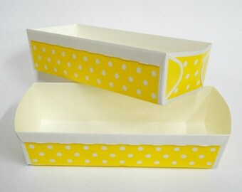 Paper Baking Pan, Paper Loaf Baking Pans, Yellow Rectangular Cake Pan, Homemade Food Gift, Party Favor, Bridal Shower, Polka Dot Tray
