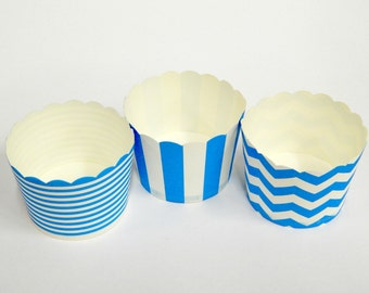 Cupcake Baking Cups, 20 Blue Baking Cups, Candy / Nut Cup, Baking Cups, Ring Stripe, Vertical Stripe, Chevron, Muffin Liners, Cupcake