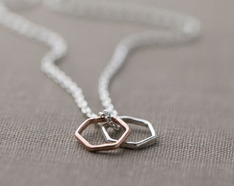 Dainty Hexagon Necklace, Sterling Silver Necklace, Minimalist Necklace Handmade, Gift for Women, Friend Gift, by burnish