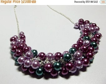 30% Off SALE thru Mon Pearl Necklace, Teal Plum Lilac Necklace, Valentines Day Gifts, Mom Sister Jewelry, Chunky Cluster Wedding Jewelry
