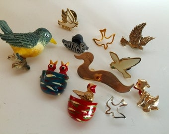 Bird Brooches Pins Tie tack Collection Vintage lot 1032