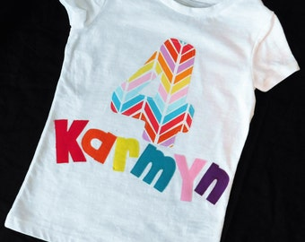 Adorable girl shirt, bright bubble gum red yellow turquoise blue orange rainbow colors personalized birthday number, name applique NB -16