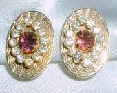 Vintage 1950's Purple Rhinestone Earrings