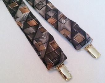 Pelican USA Brand Grey Black Brown Print Suspenders Braces