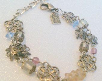 NOS Signed Desert Heart Silver Tone Filigree Beaded Bracelet